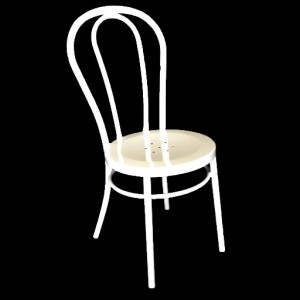 """Bistro Bentwood Style Galvanised Chair """"White"""""""