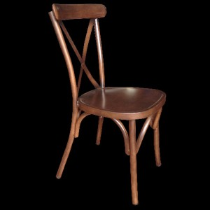 .Cross Back Dining Chair - Wooden Finish Colour
