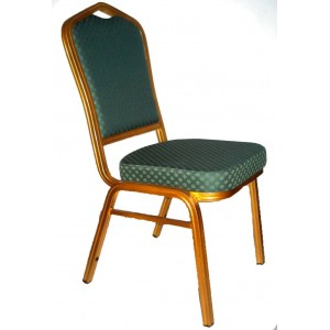 Banquet Chair, Green with Gold Aluminium Frame