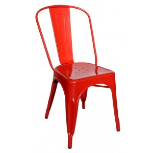 "Galvanised Steel Chair ""Red"""