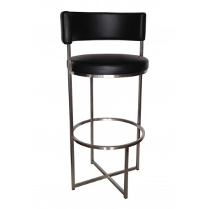 Wing Bar Stool with Black Cushion Seat and Back on Stainless Steel Frame