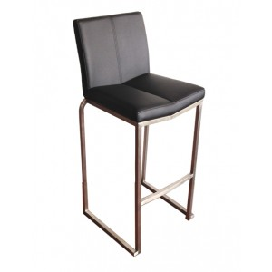 "Amao Stackable Bar Stool ""Black"" with High Back on S/S Frame"
