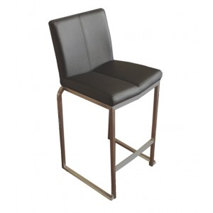 """Amao Stackable Kitchen Stool """"Black"""" with High Back on S/S Frame 650mm High"""