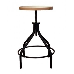 Cork Screw Kitchen Stool on Steel frame with Ash Seat Pad 650mm to 750mm High