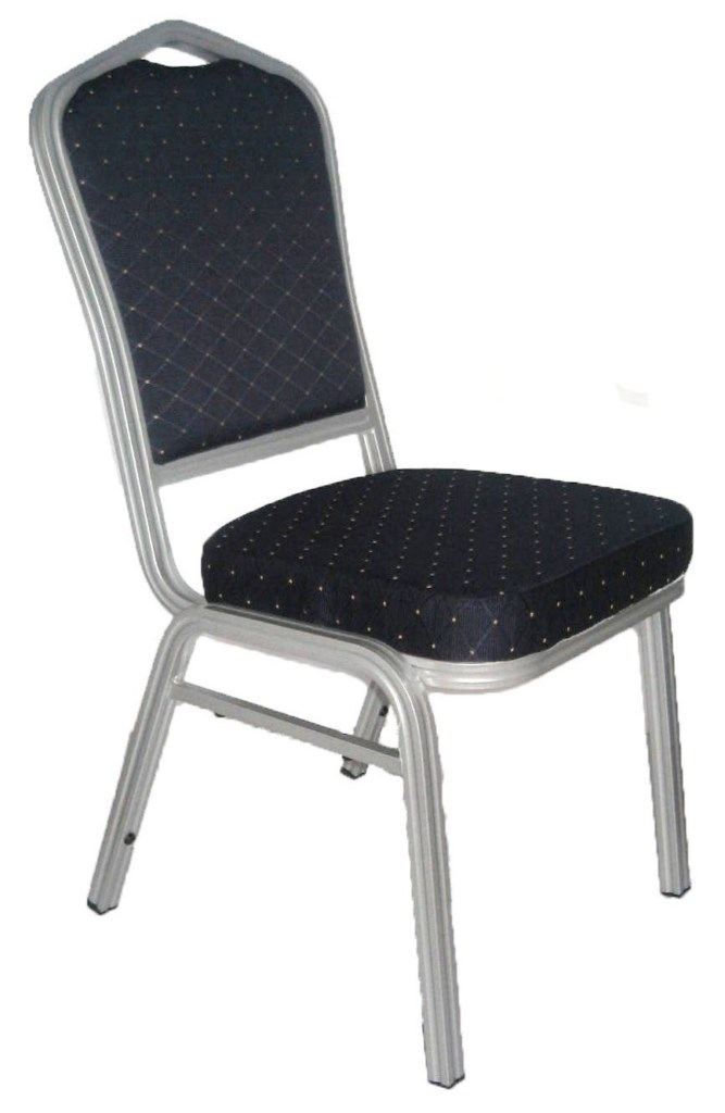 Banquet Chair, Blue with Silver Aluminium Frame