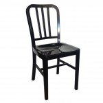 Navy Aluminium Side Chair - Black