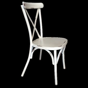 .Cross Back Aluminium Dining Chair - Vintage White Colour