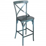 Cross Back Aluminium Bar Stool - Vintage Blue