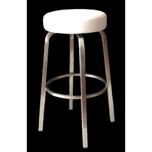 Tapas 650mm Kitchen Stool Stainless Steel Frame-Whiite