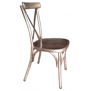 Cross Back Aluminium Dining Chair - 4 Colours