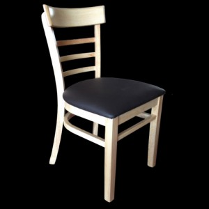 . York Timber Restaurant Chair - Black Cushion
