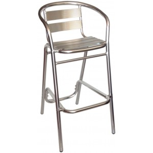 Silver Slat Aluminium Bar Stool With Arm