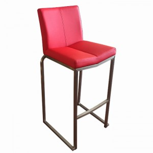 "Amao Stackable Bar Stool ""Red"" with High Back on S/S Frame"