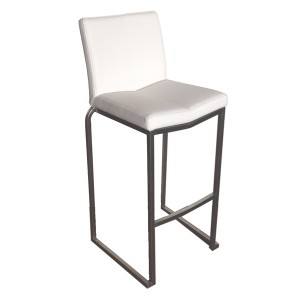 "Amao Stackable Bar Stool ""White"" with High Back on S/S Frame"