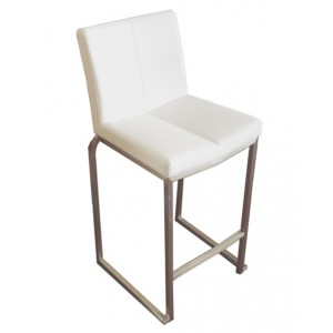 "Amao Stackable Kitchen Stool ""White"" with High Back on S/S Frame 650mm High"