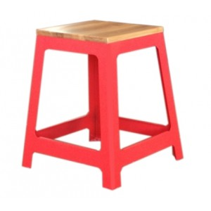 """Steel Stool with Wooden Seat 450mm seat height """"RED"""""""