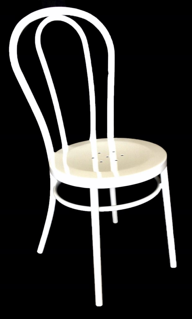 Bistro Bentwood Style Galvanised Chair White