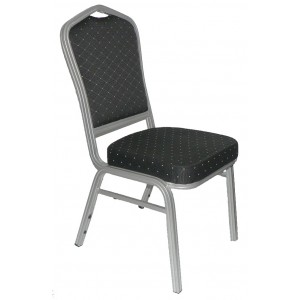 Banquet Chair, Black with Silver Aluminium Frame