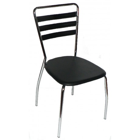 "Accent PVC Cushioned Chair ""Black"" W/Chrome Legs"