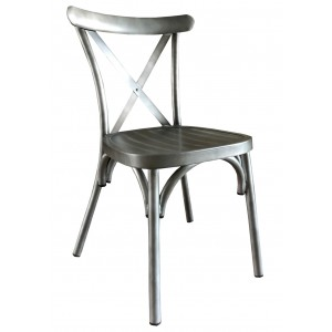 Cross Back Aluminium Dining Chair - Gun Metal Colour