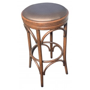 Isla Bentwood Style Stool with Wood Look Aluminium Frame and Swivel Cushion Seat 750mm Seat Height
