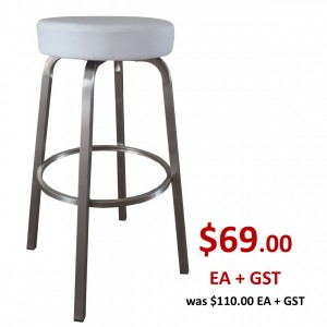 Tapas 760mm Bar Stool Stainless Steel Frame-White