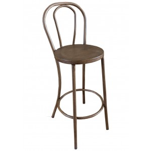 Thonet Bentwood Aluminium Bar Stool - Woodgrain