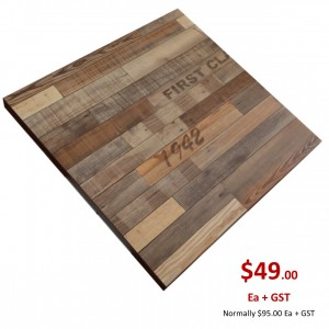 800mm, Timber Veneer Table Top, Square, Vintage Finish