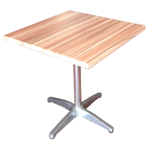 700mm Square Teak Heat Proof Table Top on Standard Aluminium Base