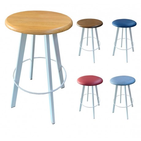 Brendale Bar Stool Assorted Seat Finishes White Frame 750mm