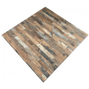 800mm, Compact Laminate, Square, Rustic Block Wood