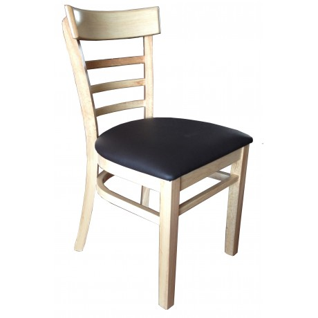York Timber Restaurant Chair - Black Cushion